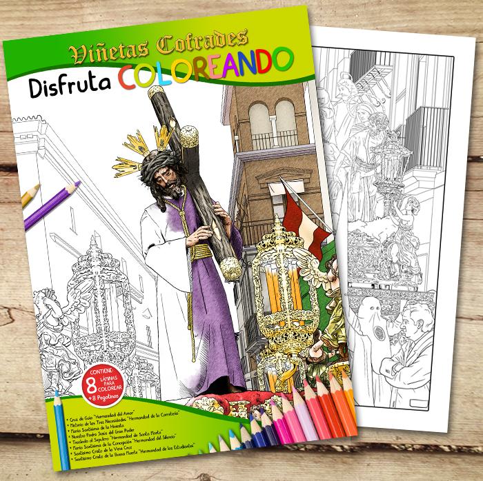 Viñetas Cofrades | Cuaderno de colorear con pegatinas